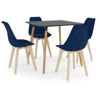 vidaXL Valgomojo baldų komplektas, 5 dalių, mėlynas (287240+289151)