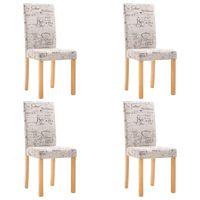 vidaXL Valgomojo kėdės, 4 vnt., kreminės spalvos, audinys