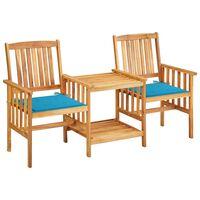 vidaXL Sodo kėdės su arbatos staliuku ir pagalvėlėmis, akacija