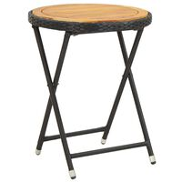vidaXL Arbatos staliukas, juodas, 60cm, poliratanas ir akacijos masyvas