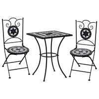vidaXL Mozaikinis bistro baldų komplektas, 3d., juoda/balta, keramika