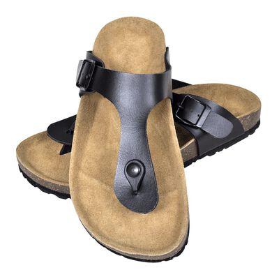 vidaXL Moteriški kamštiniai sandalai, juodi, 41 dydžio