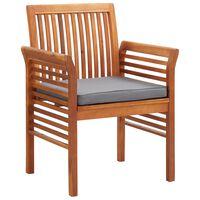 vidaXL Sodo valgomojo kėdės su pagalvėlėmis, 3 vnt., akacijos masyvas