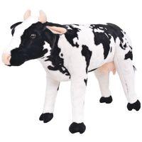 vidaXL Stovintis pliušinis žaislas karvė, baltas ir juodas, XXL
