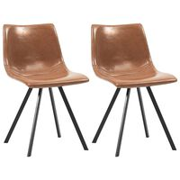 vidaXL Valgomojo kėdės, 2vnt., konjako spalvos, dirbtinė oda