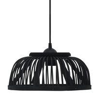 vidaXL Pakabinamas šviestuvas, juodas, 34x14,5cm, bambukas, pusapvalis