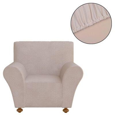 vidaXL Tamprus fotelio užvalkalas, smėlio sp. poliesterio džersis