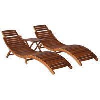 vidaXL Saulės gultas su arbatiniu staliuku, 3 dalių, akacijos masyvas