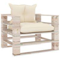 vidaXL Sodo sofa iš palečių su kreminėmis pagalvėlėmis, pušies mediena