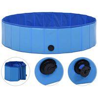 vidaXL Sulankstomas baseinas šunims, mėlynos spalvos, 120x30cm, PVC