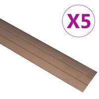 vidaXL Grindų profiliai, 5vnt., rudos spalvos, aliuminis, 90cm