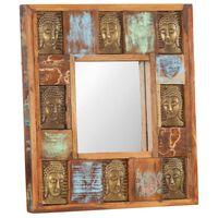 vidaXL Veidrodis su Budos galvomis, 50x50cm, perdirbta mediena