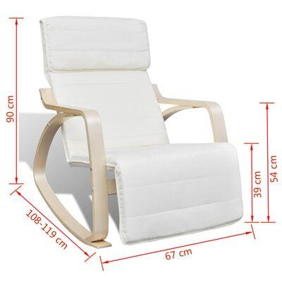 vidaXL Supamoji kėdė, kreminė, lenkta mediena ir audinys