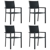 vidaXL Sodo kėdės, 4vnt., juodos spalvos, plastikas, ratano imitacija