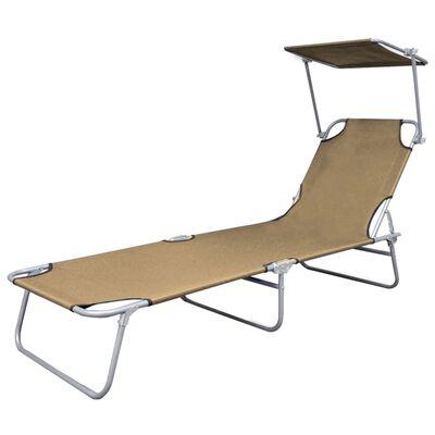 vidaXL Sulankstomas saulės gultas su stogeliu, plienas, smėlio sp.