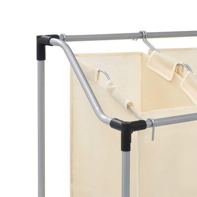 vidaXL Stovas su 3 skalbinių rūšiavimo krepšiais, krem. sp., plienas