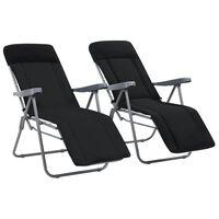 vidaXL Sulankstomos sodo kėdės su čiužinukais, 2 vnt., juodos
