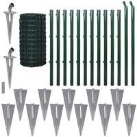 vidaXL Euro tvora, žalia, 25x1,7m, plienas