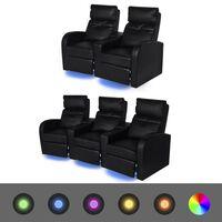 vidaXL Krėslų reglainerių komplektas su LED, dirbtinė oda, juodas
