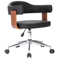vidaXL Pasukama biuro kėdė, juoda, išlenkta mediena ir dirbtinė oda