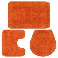 vidaXL Vonios kilimėlių rinkinys, 3d., oranžinis, audinys