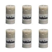 Bolsius Kaimiško stiliaus žvakės, pilkos, forminės, 130x68mm, 6vnt.