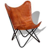 vidaXL Išskleidžiama kėdė, ruda, tikra oda