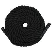 vidaXL Jėgos virvė, juodos spalvos, 15m, poliesteris