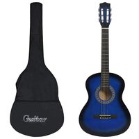 """vidaXL Klasikinė gitara su dėklu pradedantiesiems, mėlyna, 3/4 36"""""""
