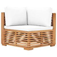 vidaXL Kampinė sodo sofa su kreminėmis pagalvėlėmis, tikmedžio masyvas