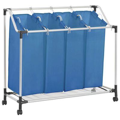 vidaXL Stovas su 4 skalbinių rūšiavimo krepšiais, mėlynas, plienas