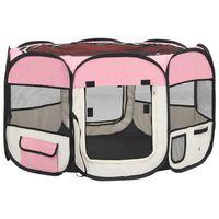 vidaXL Sulankstomas aptvaras šunims su krepšiu, rožinis, 110x110x58cm
