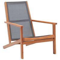 vidaXL Sodo poilsio kėdė, pilka, eukalipto masyvas ir tekstilenas
