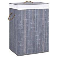 vidaXL Skalbinių krepšys, pilkos spalvos, bambukas