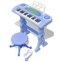Vaikiškas Žaislinis Sintezatorius su Kėdute/Mikrofonu, 37 Kl., Žydras