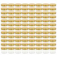 vidaXL Stikl. stiklainiai uog. su auksiniais dangt., 96vnt., 110ml