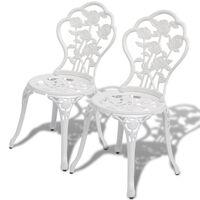vidaXL Bistro kėdės, 2 vnt., lietas aliuminis, baltos