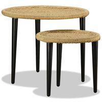 vidaXL Kavos staliukų komplektas, 2 dalių, natūralus džiutas