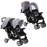 vidaXL Vaikiškas dvivietis vežimėlis, plienas, pilkas/juodas