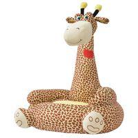 vidaXL Pliušinė vaikiška kėdė, žirafos forma, ruda
