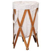 vidaXL Sulankstomas skalbinių krepšys, kreminis, mediena ir audinys