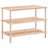 vidaXL Batų lentyna, eglės medienos masyvas, 3 aukštų