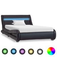 vidaXL Lovos rėmas su LED, juodos spalvos, 100x200cm, dirbtinė oda