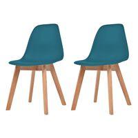 vidaXL Valgomojo kėdės, 2 vnt., turkio spalvos, plastikas