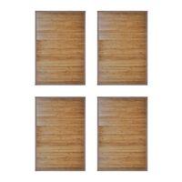 vidaXL Vonios kilimėliai, 4vnt., rudi, 60x90cm, bambukas (4x242112)