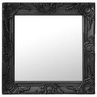 vidaXL Sieninis veidrodis, juodos spalvos, 50x50cm, barokinis stilius