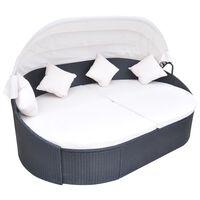 vidaXL Lauko gultas su pagalvėlėmis, poliratanas, juodas