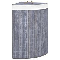 vidaXL Kampinis skalbinių krepšys, pilkos spalvos, bambukas, 60l