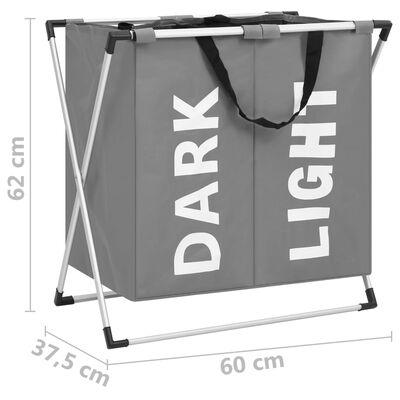 vidaXL 2 skyrių skalbinių rūšiavimo krepšys, pilkos spalvos