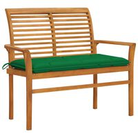 vidaXL Garden Bench with Green Cushion 112 cm Solid Teak Wood (47407+314937)
